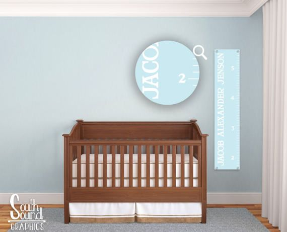 Growth Chart for Boys - Kids Room Wall Decor - Light Blue Custom Wall Hanging - Children's Personalized Growth Chart Ruler - Kids Bedroom