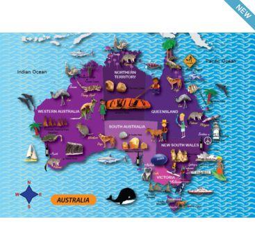 Mapedia - Australia - Bobangles #ThePurpleCow #kids #Australia #puzzle #educational #map