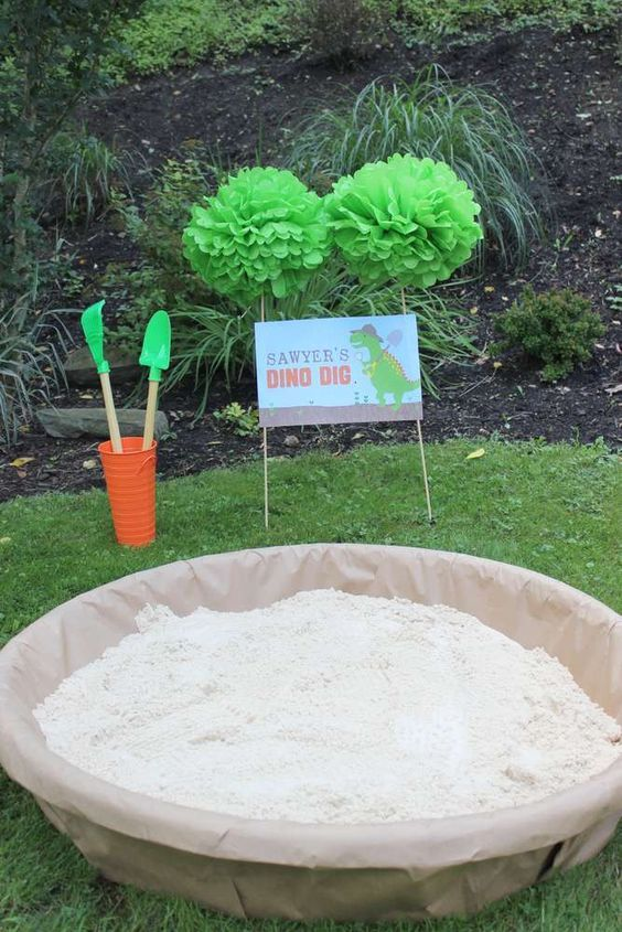 Dino dig at a dinosaur birthday party! See more party planning ideas at CatchMyParty.com!