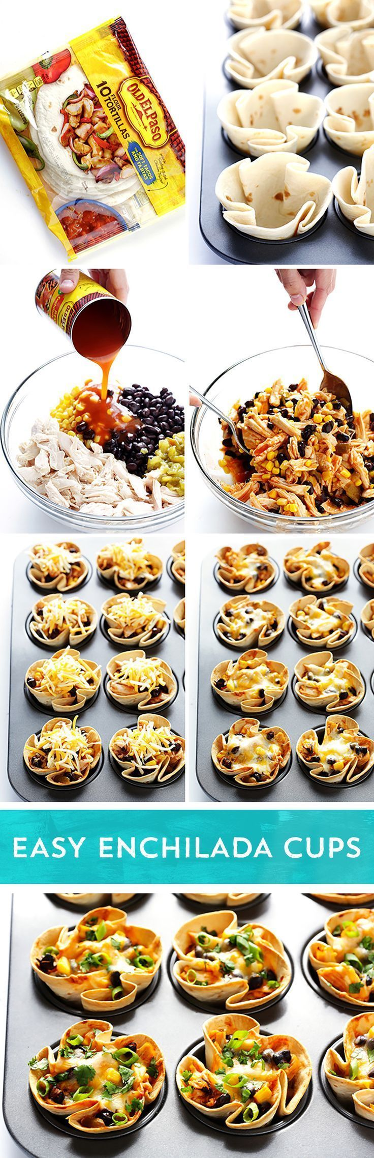 Try something new for taco night! These Easy Enchilada Cups from /gimmesomeoven/ are the perfect twist on traditional tacos! They're ready to eat in just 30 minutes - and they're the perfect party appetizer or dinner idea!