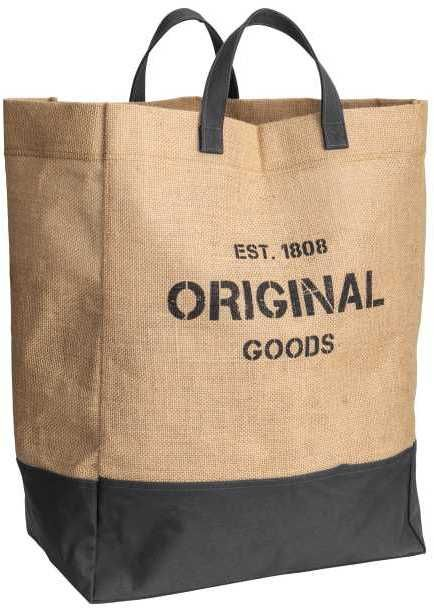 H&M Cotton and Jute Laundry Basket Laundry basket in jute with two handles and a printed text design. Lower section in contrasting cotton twill. Size 9 3/4 x 15 3/4 x 20 3/4 in. Afflink.