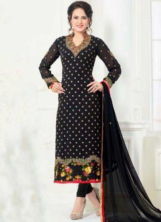 Black Embroidery Booti Work Georgette Designer Fancy Churidar Suit http://www.angelnx.com/Salwar-Kameez #silk #suit #designer #longchuridar #georgette #black #work