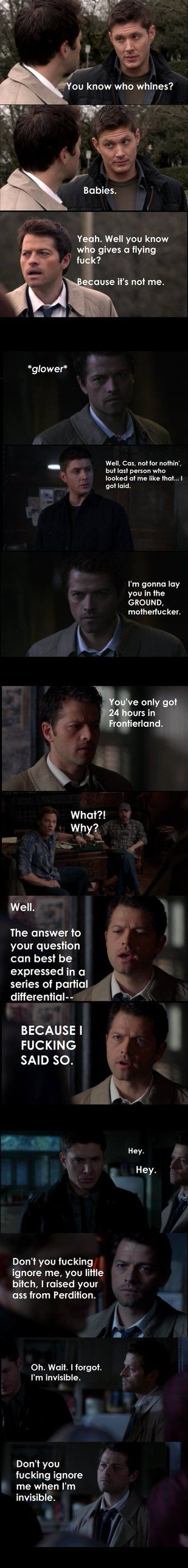 Castiel finally has enough of this shit. ...It's nearing finals and I felt like doing something mean. I didn't think the language use was bad enough to put the mature filter on (if you watch SPN yo...