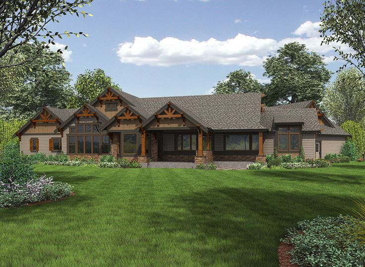 Plan 23609JD One Story Mountain Ranch Home With Options Craftsman House Plans Ranch House