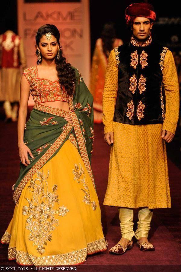 Lengha and Sherwani by Shyamal and Bhumika at LFW 2013