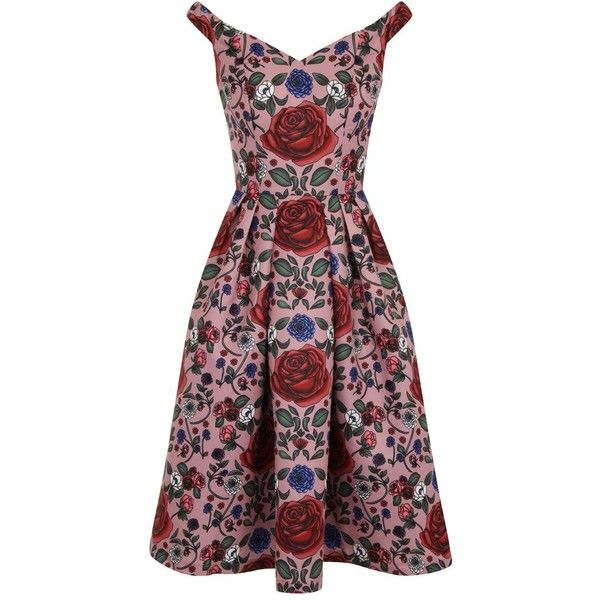Chi Chi London Bardot Floral Print Midi Dress (125 CAD) ❤ liked on Polyvore featuring dresses, pink, women, floral midi dress, pink midi dress, sweetheart dress, floral tea dress et day to night dresses