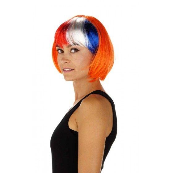 Oranje Pruik met Rood-Wit-Blauw Bobline