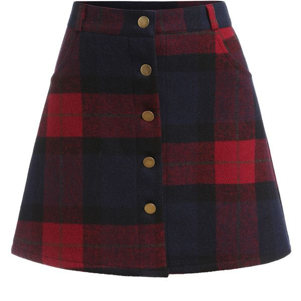 Plaid Single Breasted A Line Skirt (£12) ❤ liked on Polyvore featuring skirts, bottoms, multicolor, short a line skirt, knee length a line skirt, short skirts, a line skirt and multi colored skirt