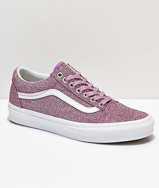 34fd57223 Vans Old Skool Pink   White Glitter Skate Shoes in 2019