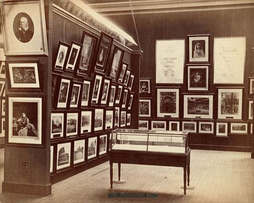 Roger Fenton, Centennial Photographic Co. Trapp & Munch's exhibit-Photographic Hall. 1876. Albumen print. 21 x 26 cm. Free Library of Philadelphia.