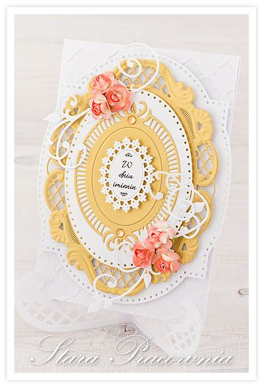 Kartka ręcznie robiona na imieniny :-) scparbooking, cardmaking, kartki ręcznie robione www.starapracownia.blogspot.com www.facebook.com/starapracownia