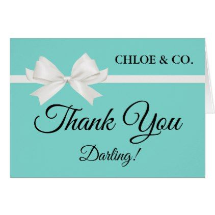 Personalized Tiffany Theme Thank You Note Card - baby gifts child new born gift idea diy cyo special unique design