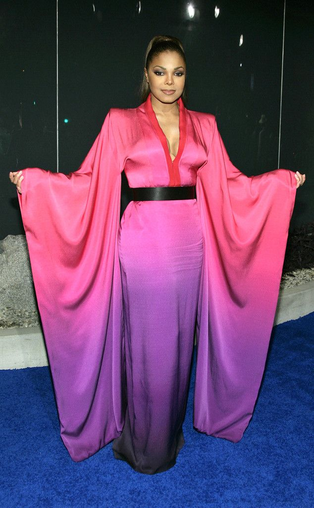 Ombré Kimono from Janet Jackson's Best Looks From Red Carpet to Concerts  Back in 2008, Janet attended Alexander McQueen's Los Angeles flagship store opening in a breathtaking, fuchsia-to-violet ombré kimono.