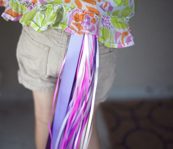 Unicorn Tails made of ribbon and elastic waistbands