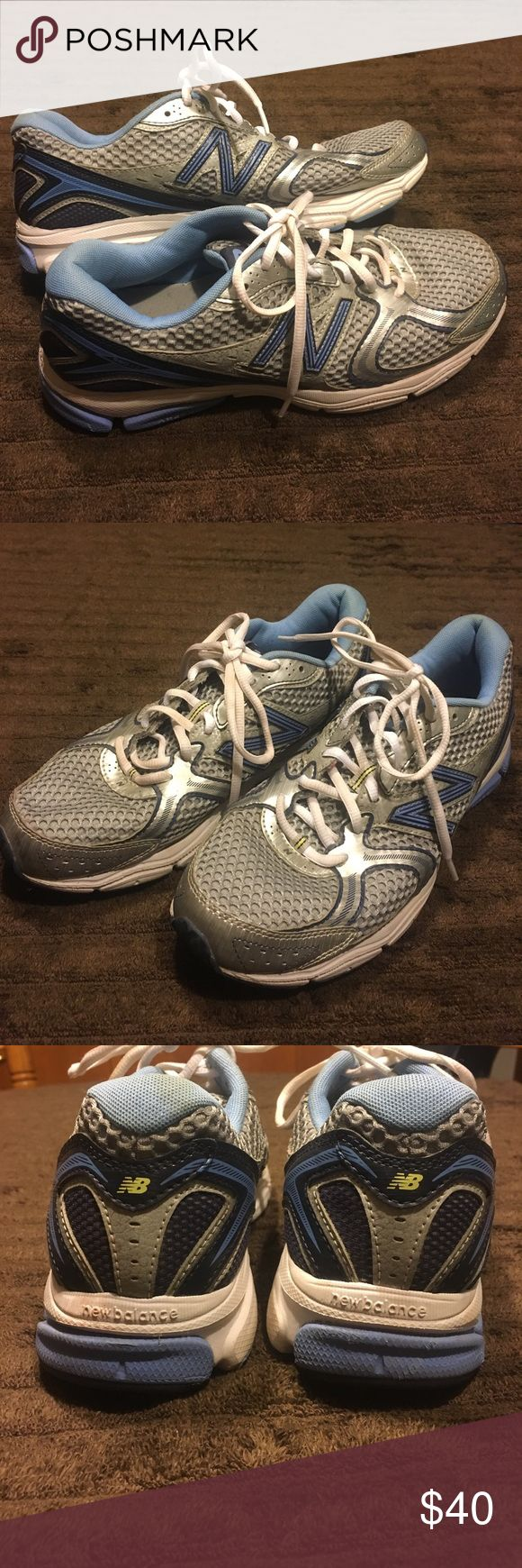 New Balance Gym Shoes New Balance Women's Gym Shoes. Size 10 They are Grey Sliver White and a few different shades of Blue. These are in very good condition. All offers will be considered. Bundle and Save!!! New Balance Shoes Athletic Shoes