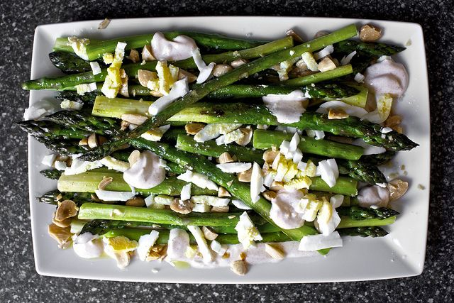 roasted asparagus with almonds and yogurt by smitten