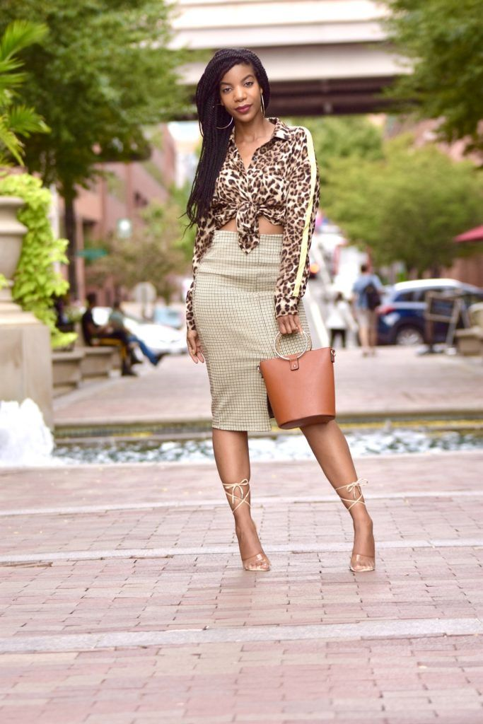 2b3283f12378 SHEIN Single Pocket Leopard Print Shirt, H&M Houndstooth Pencil Skirt,  Forever 21 O Ring Purse, Windsor Store Clear Nude Lace Up Heels