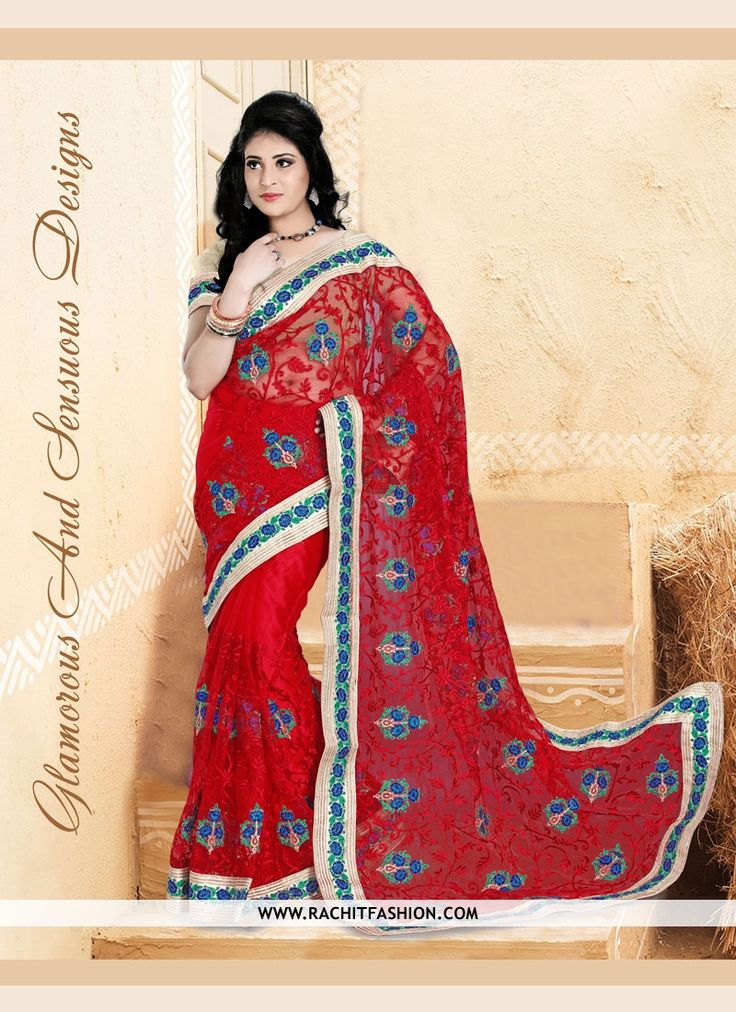Shop Glamorous Pure Net Divine saree in red color.