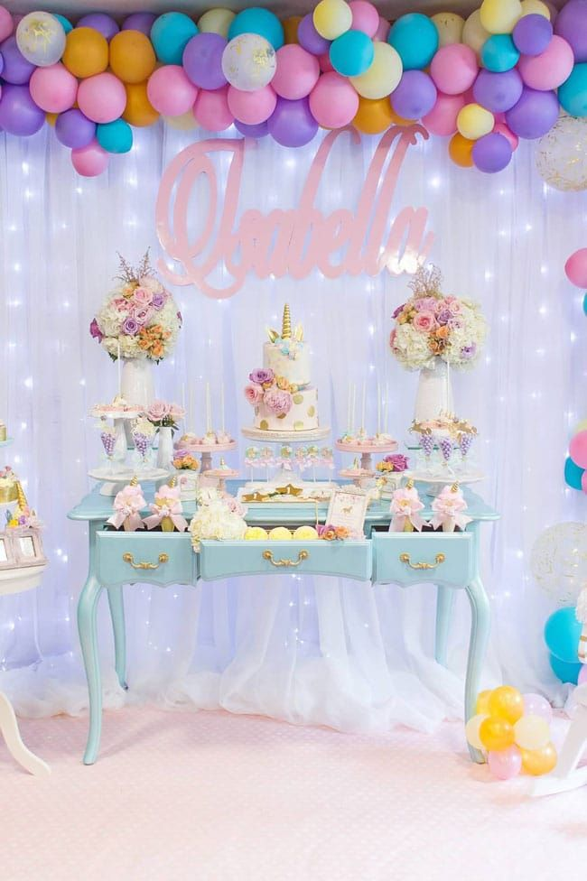 Magical Pastel Unicorn Party 1st Birthday Pretty My Party Unicorn Themed Birthday Party Birthday Parties Unicorn Birthday Decorations