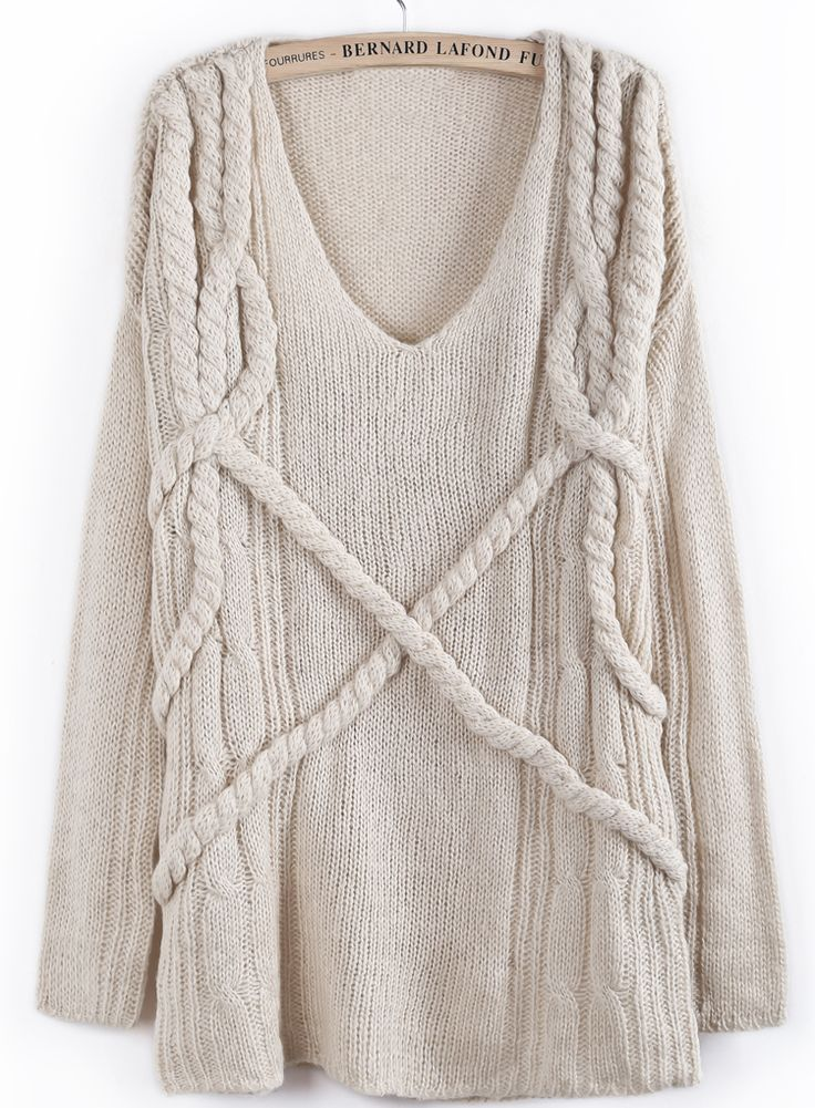 Apricot V Neck Long Sleeve Cable Knit Loose Sweater EUR€24.85
