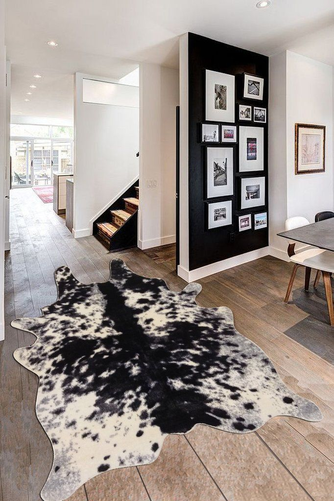 Faux Cowhide Rug Black And White With