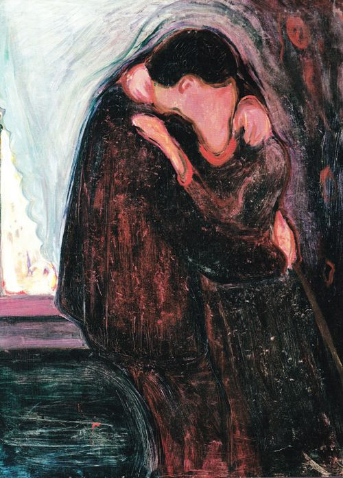 "The Famous ""The Kiss"" Painting by Edvard Munch-(1863 /1944) 1.The Kiss, 1897, Oil on canvas, 99 x 81 cm, Munch Museum, Oslo, Norway."