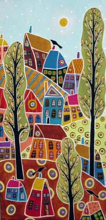 Houses Trees And Birds Painting - Houses Trees And Birds Fine Art Print