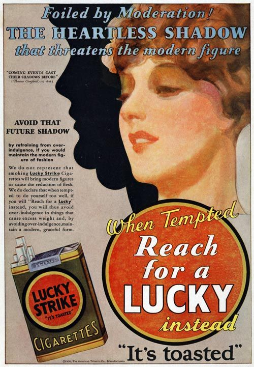 quot;When tempted, reach for a Lucky instead.quot;  Better health with Cigarettes  Pinterest