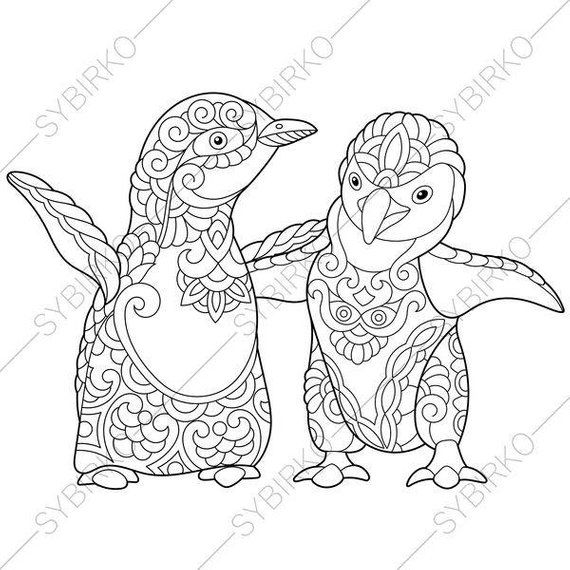 Coloring Page For Adults Digital Coloring Page Penguins Etsy Penguin Coloring Pages Coloring Books Coloring Pages