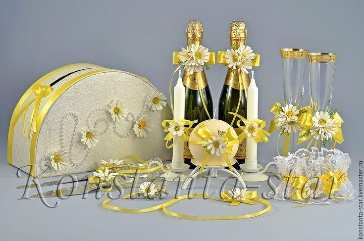 Купить Ромашковая коллекция свадебных аксессуаров. - желтый, ромашковая свадьба, ромашечная свадьба, свадьба в ромашках
