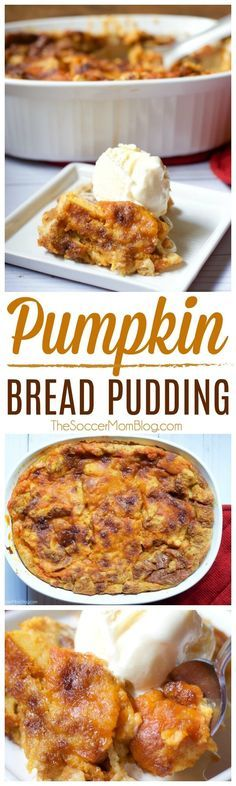 Warning: This melt-in-your-mouth pumpkin pie bread pudding recipe may just become your new favorite #Thanksgiving dessert! #pumpkin