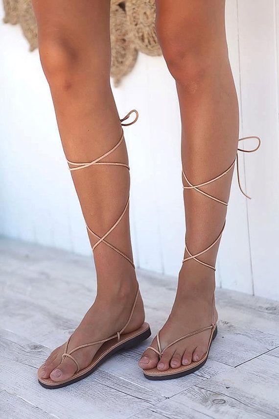 Schnüren Sie Sandalen Römersandalen Sandalen aus Leder