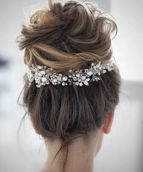 Lovely updo with glittering accent!