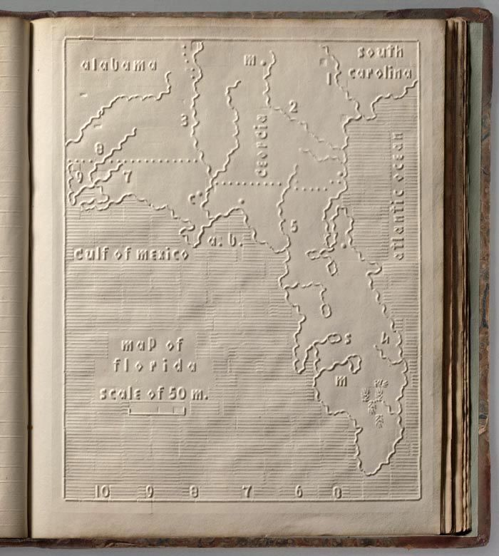 Beautiful atlas for the blind from 1837 with no ink and all of the text and maps embossed into the page.