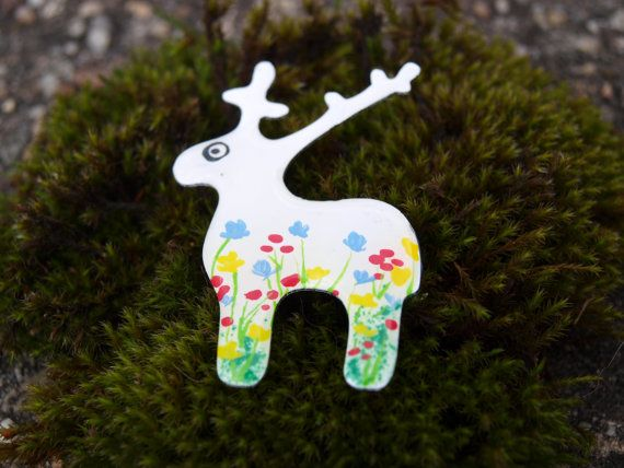 Hand painted colorful deer brooch by #CinkyLinky