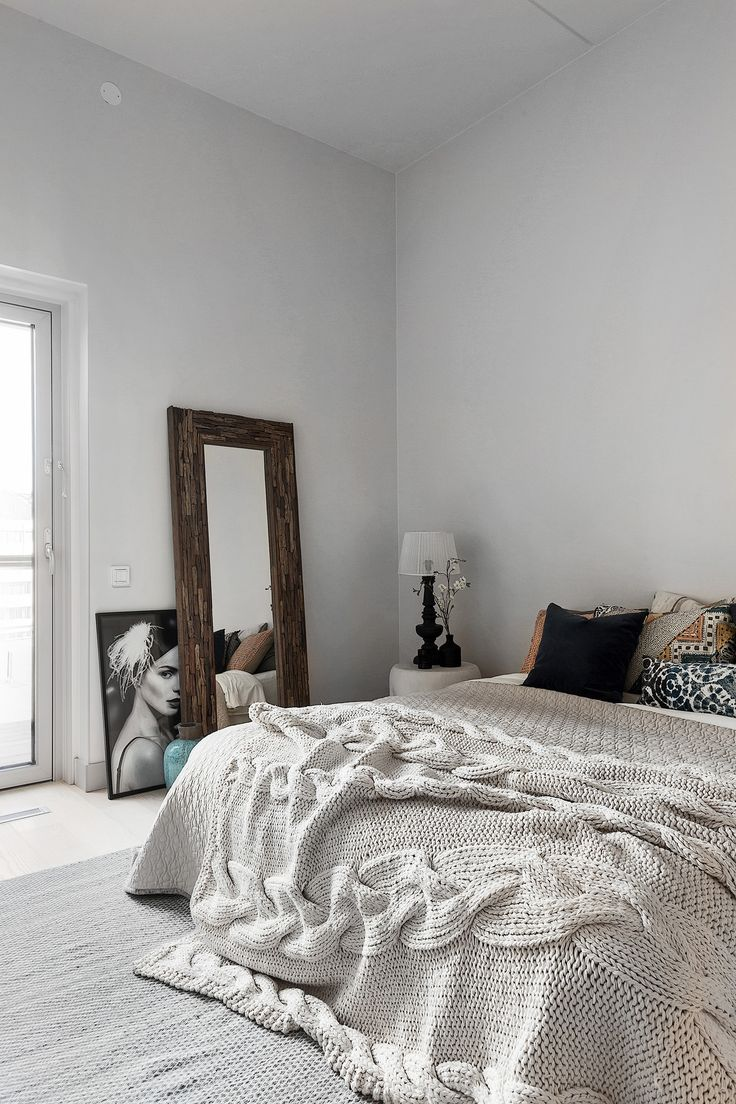bedroom, knitted bed cover, scandinavian style