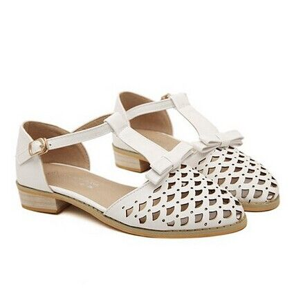 Sweet Women's Flat Shoes With Bow and Hollow Out Design Color: PURPLE, WHITE  Size