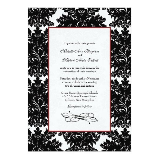 large damask swirls wedding invitations black red
