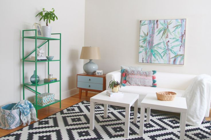 Living Room Makeover After Eclectic Ikea rug and shelf, turquoise side table,