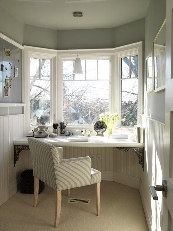 Sarah Richardson Design - dens/libraries/offices - floating desk, beadboard walls, beadboard trim, office beadboard, blue gray walls., Love