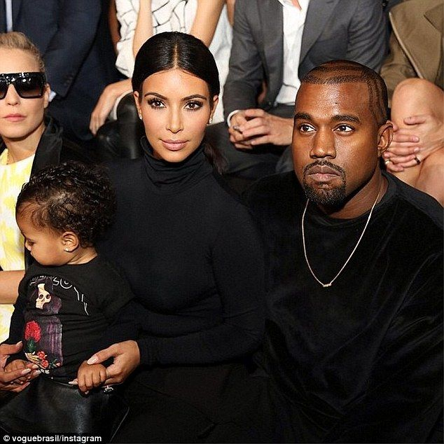 North West steals all the attention in leather trousers and Yeezus tour top as she joins Kim and Kanye at Balenciaga Paris show | Daily Mail Online