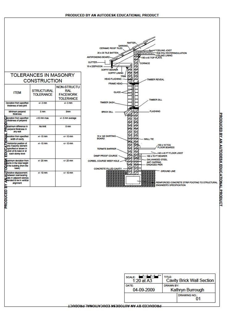 Brick Masonry Wall Section Detail Brick Pinned By Www