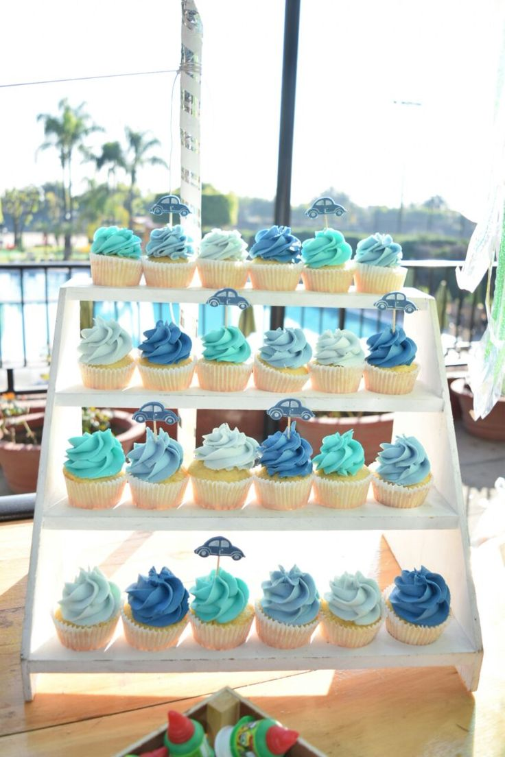 Baby Shower, cupcakes, candy bar, boy, car party