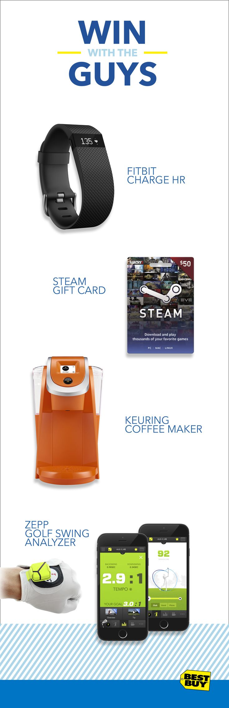 Whoever told you winning wasn't everything probably never got their holiday bell rung with the perfect man-gift. Husbands, dads,brothers, boyfriends, we've got them all covered. Win the holidays with everything from a Keurig Coffee Maker, to a gaming Steam Card, or perfect their game with the MiCoach Smart Soccer Ball or Golf Swing Analyzer, and thousands more.