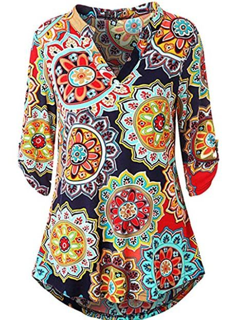 155db39170c Amazon: Women Floral Print 3/4 Sleeve Blouse V Neck Asymmetric Hem Shirt  Tops for $10 W/Code (Reg: $21.98)