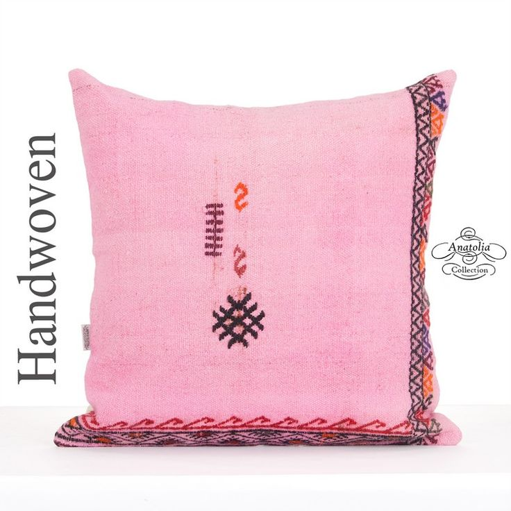 Pink Embroidered Kilim Cushion 24x24 Inch Large Eclectic Floor Throw Pillow Unique Bohemian Style Decor Pillowcase Handmade Vintage Boho Kelim Pillow Sham