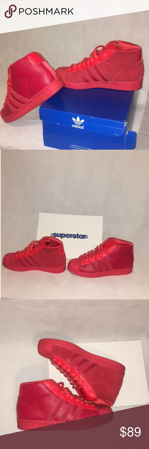 So Fresh! High Top Pro model Adidas Red/Red   So Fresh, So Clean Start your 2018  with a pair of unique sneakers!! From top to sole color in red. Minor scuffs on 1 side of the shoe but PRISITINE to say the least. Great for Valentine's Day ❤️. in original box. Ready to ship     Product Description Adidas Pro Model Mens Size: 7 1/2 Color: TOMATO adidas Shoes Sneakers