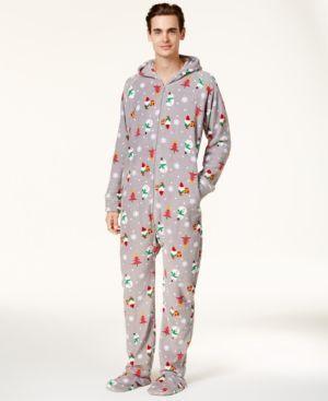 Family Pajamas Men's Holiday Happy Gnomes Footed Pajamas, Created for Macy's - Gray XXL