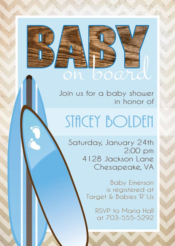 Baby on Board Surf Themed Baby Shower Invitation by graceandglee