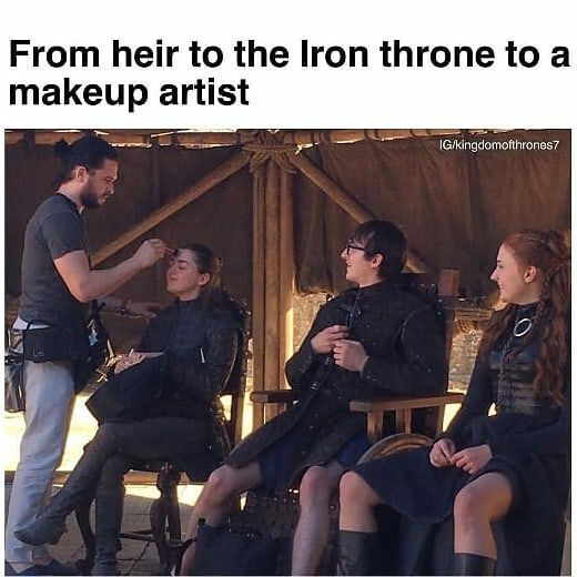 Image may contain: one or more people and people sitting, text that says 'From heir to the Iron throne to a makeup artist IG/kingdomofthrones7 ron…